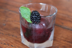 Vanilla Vodka with Blackberry flavored ice cube