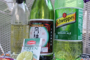Green Tea and Sake cocktail ingredients