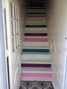 DIY Stairs colorblocking redvelvetandwhiskey blog