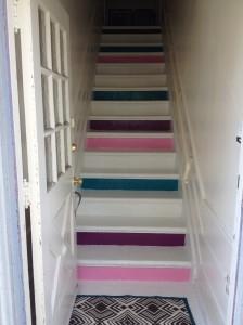 DIY Stairs colorblocking redvelvetandwhiskey blog