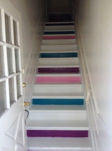 DIY stairs colorblock redvelvetandwhiskey blog