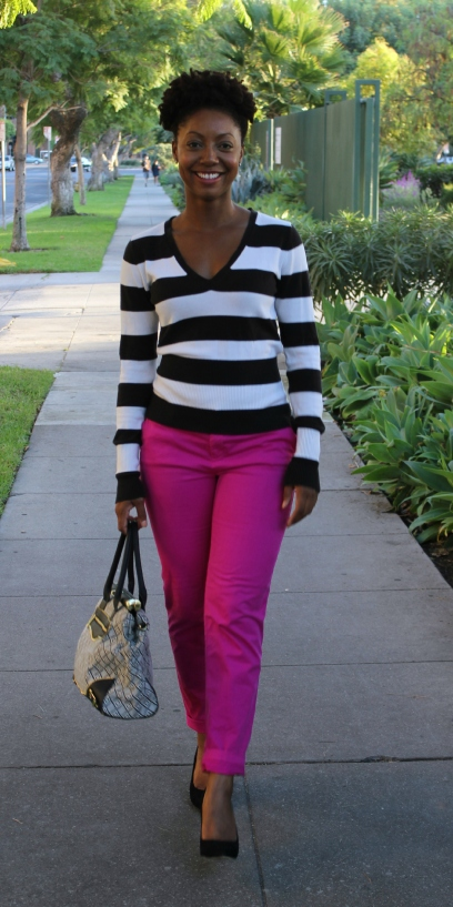 Bold stripes and color outfit