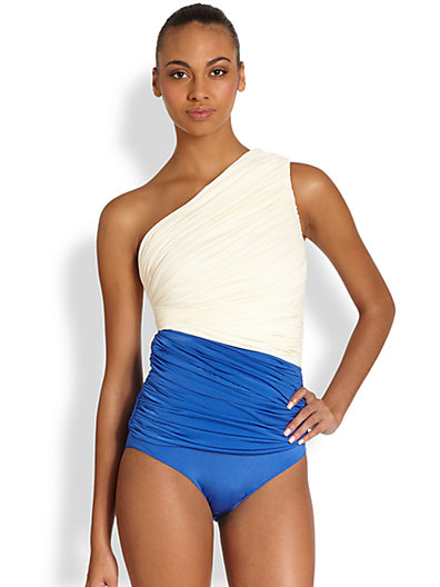 Cream & Blue one shoulder swimsuit