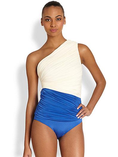 Cream & Blue one shoulder swimsuit