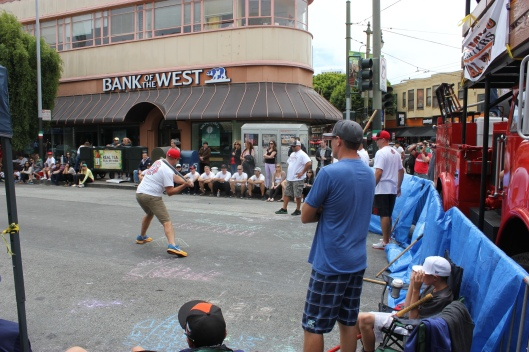 Stickball game on the streets of San Francisco